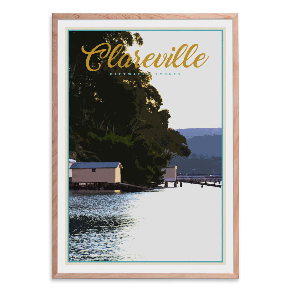 Clareville vintage travel style oak framed print by places we luv