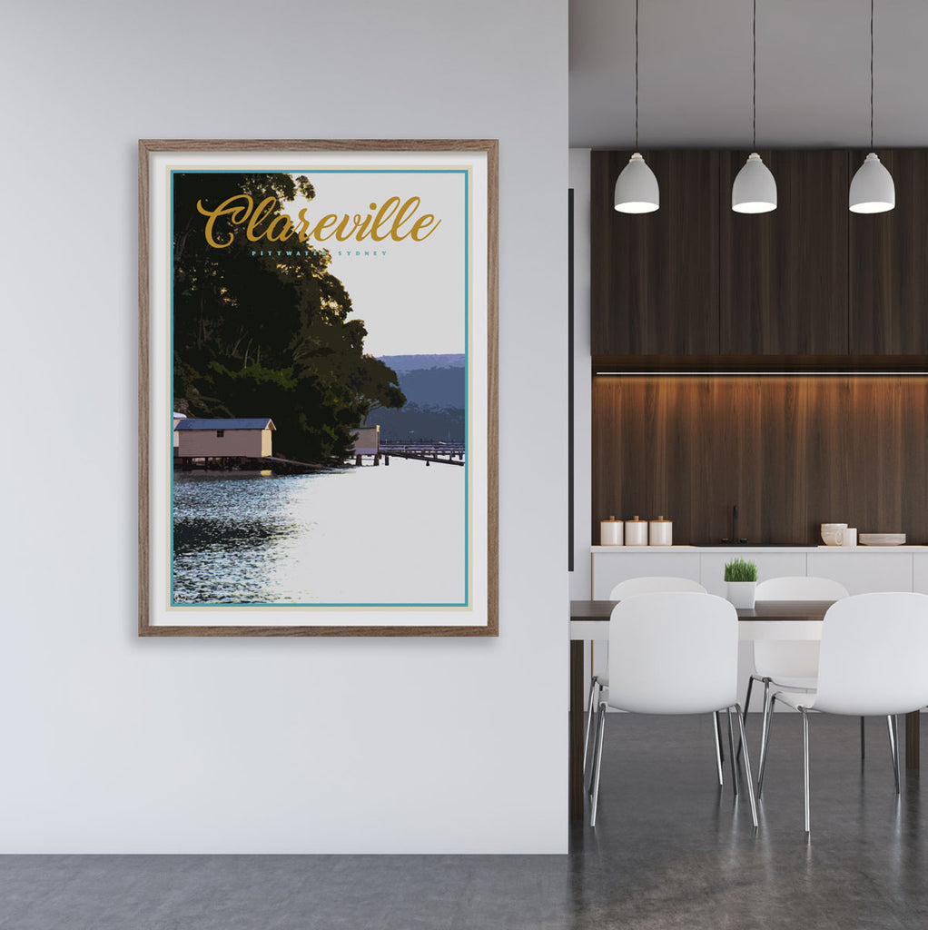 Clareville vintage travel style print by places we luv