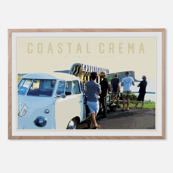 Coastal crema print in oak frame by Placesweluv