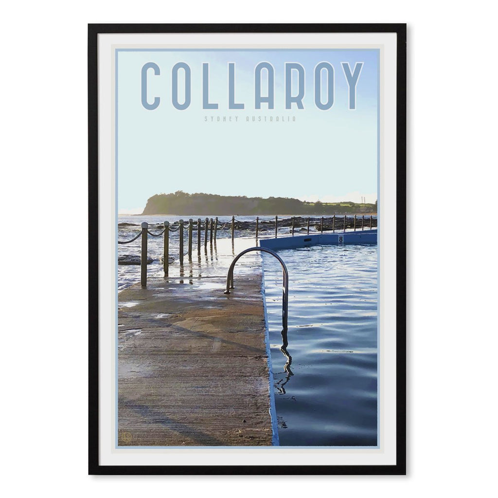 Collaroy Pool Black Framed Print vintage travel style by Places we Luv