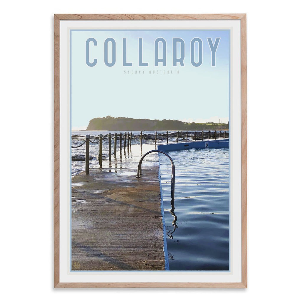 Collaroy Pool oak framed Print vintage travel style by Places we Luv