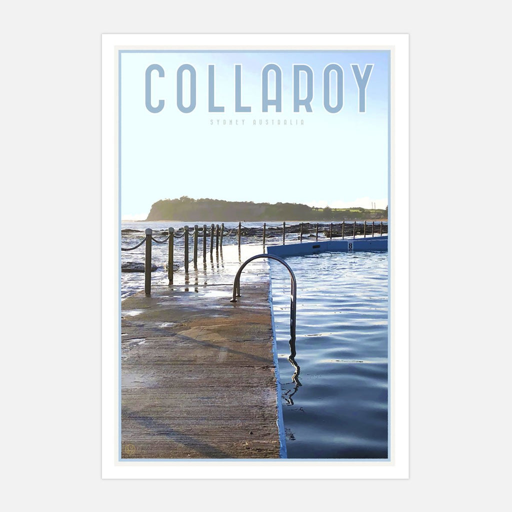 Collaroy Pool Print vintage travel style by Places we Luv