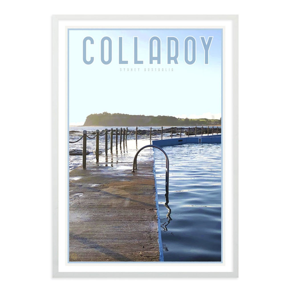 Collaroy Pool white framed Print vintage travel style by Places we Luv