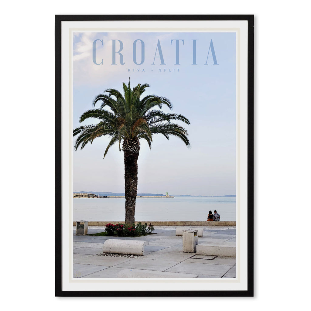 Split Croatia vintage travel style black framed print by places we luv