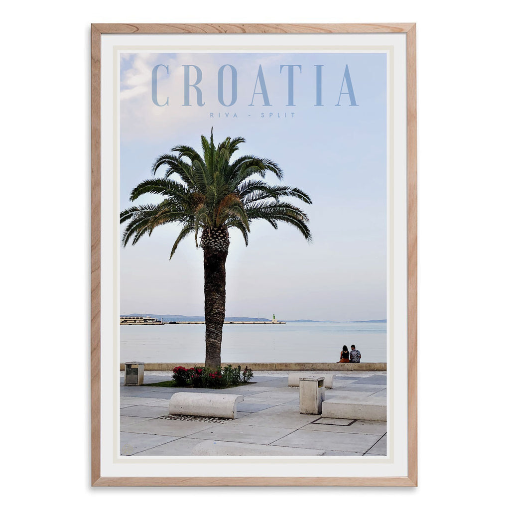 Split Croatia vintage travel style oak framed print by places we luv