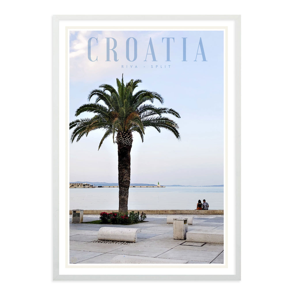 Split Croatia vintage travel style white framed print by places we luv