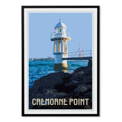 Cremorne point vintage style travel framed print by Places We Luv