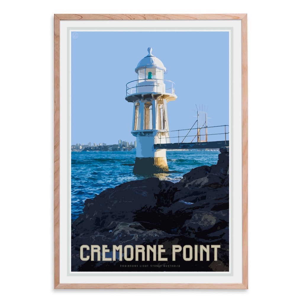 Cremorne point vintage style oak framed travel print by Places We Luv
