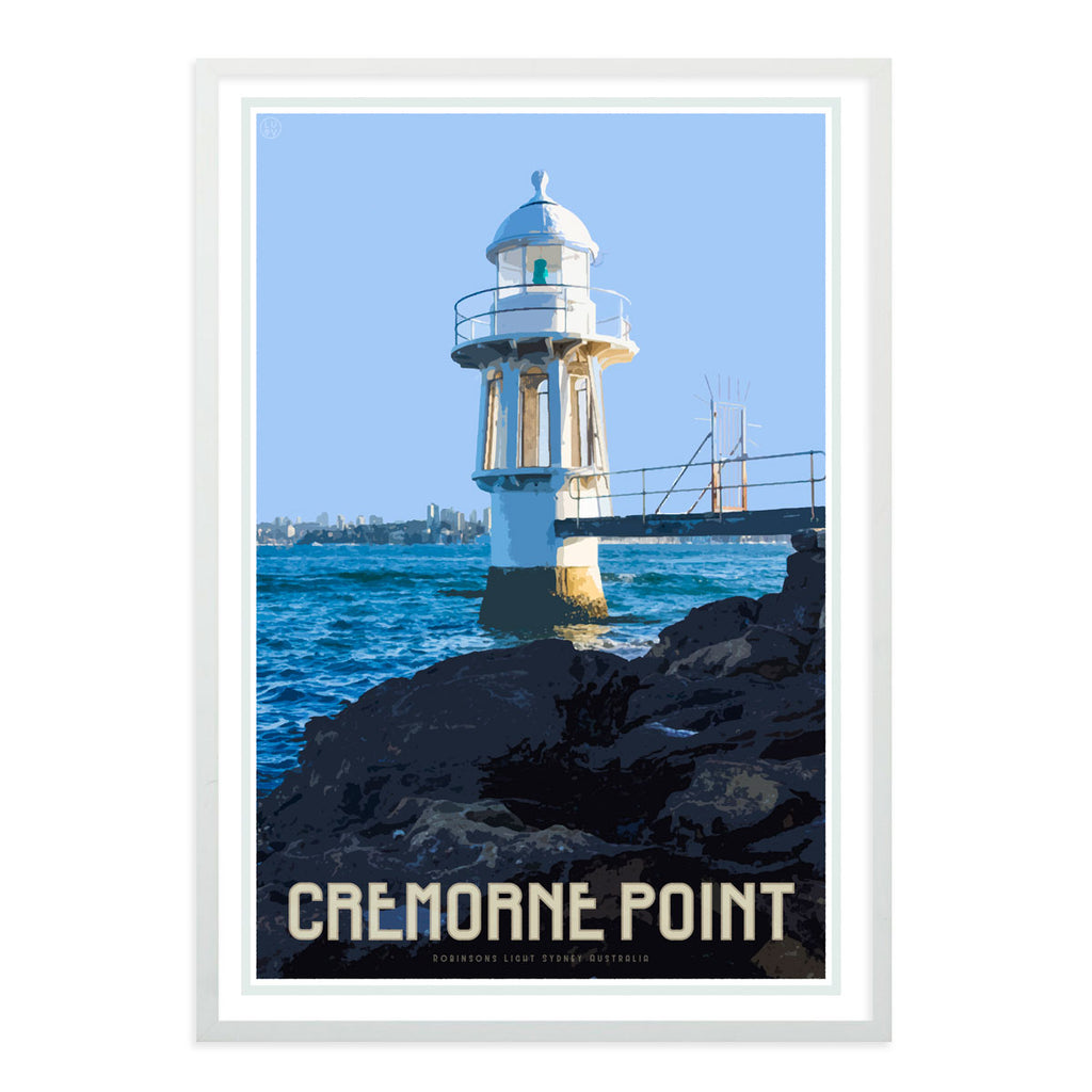 Cremorne point vintage style travel black framed print by Places We Luv