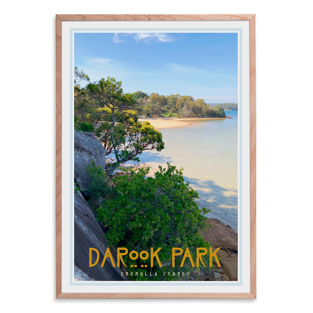 Darook Park Cronulla, vintage style travel oak framed print places we luv