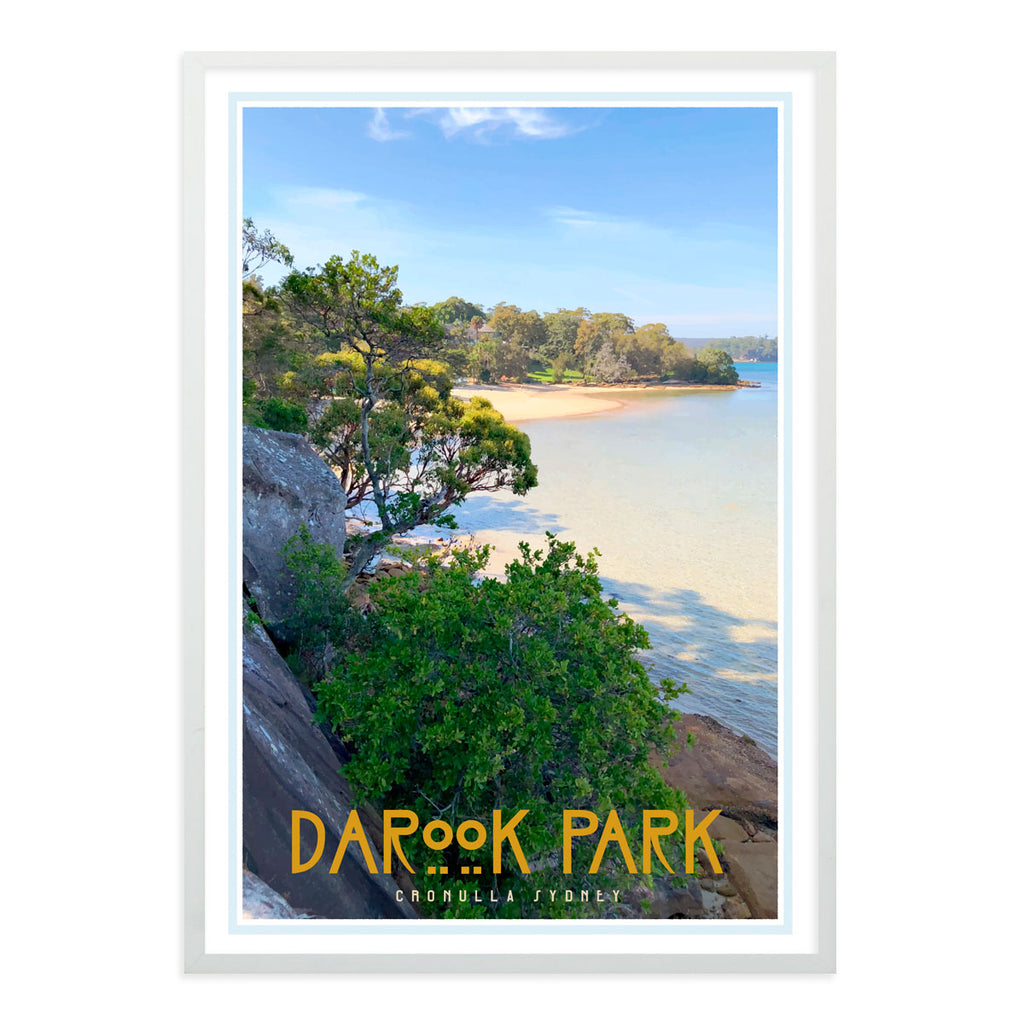 Darook Park Cronulla, vintage style travel white framed print places we luv