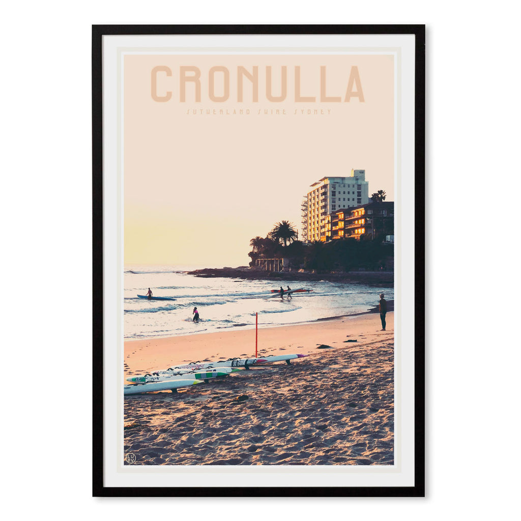 Cronulla black framed print travel style by places we luv