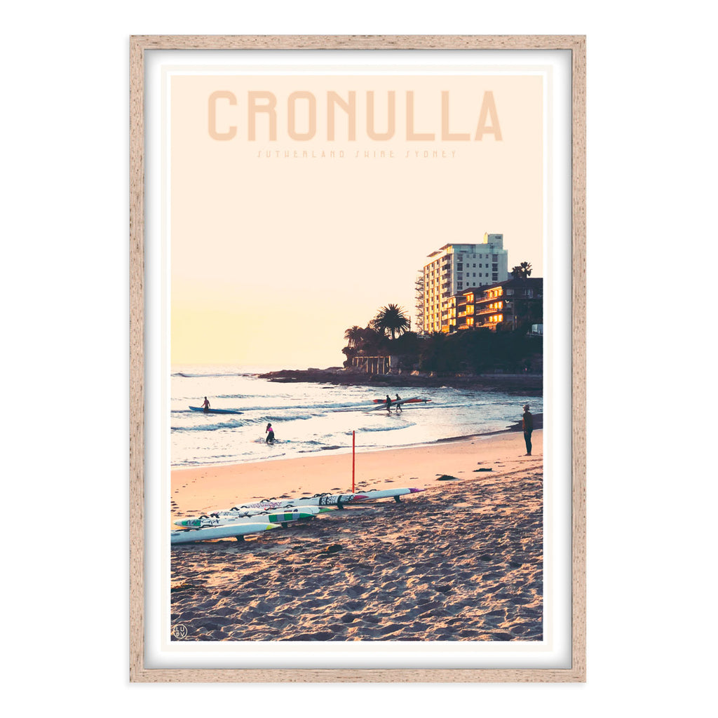 Cronulla Beach vintage style travel oak framed print designed by places we luv