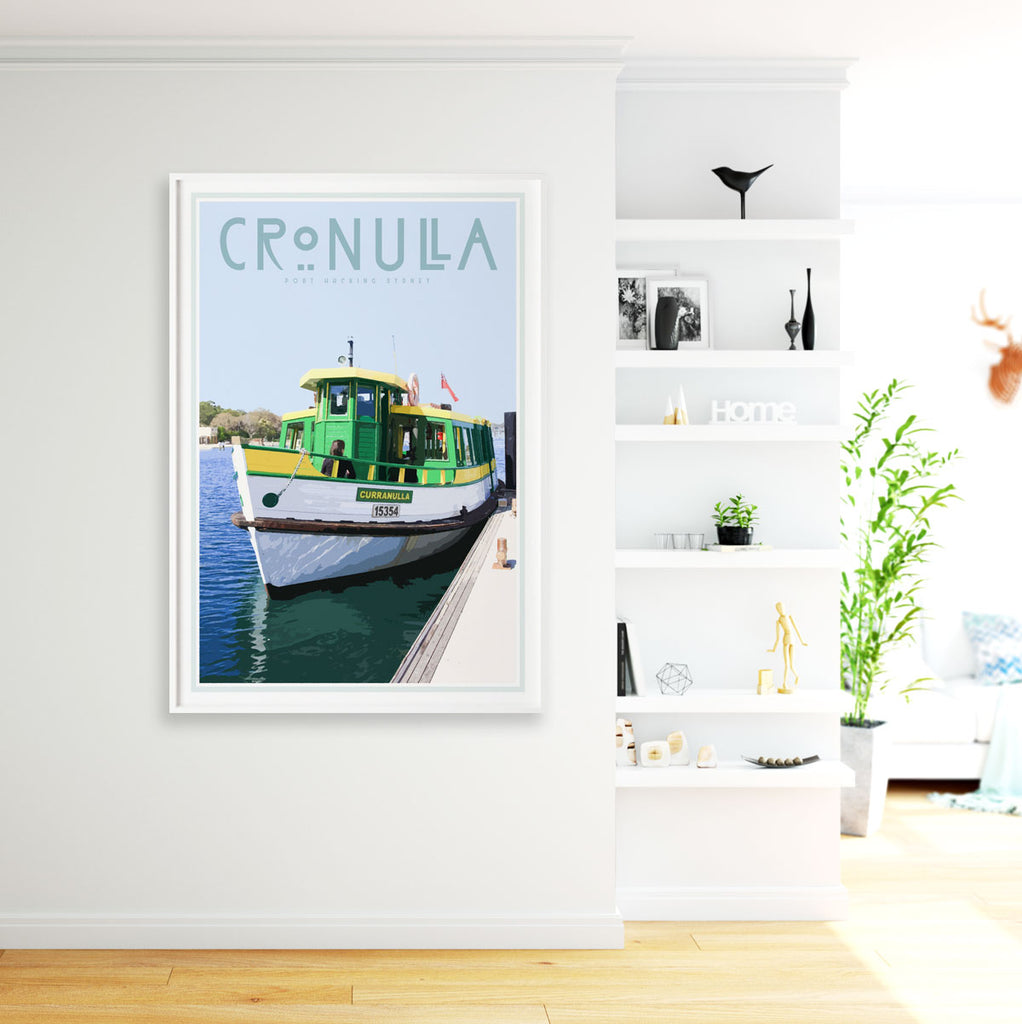 Cronulla ferry vintage style travel print designed by places we luv