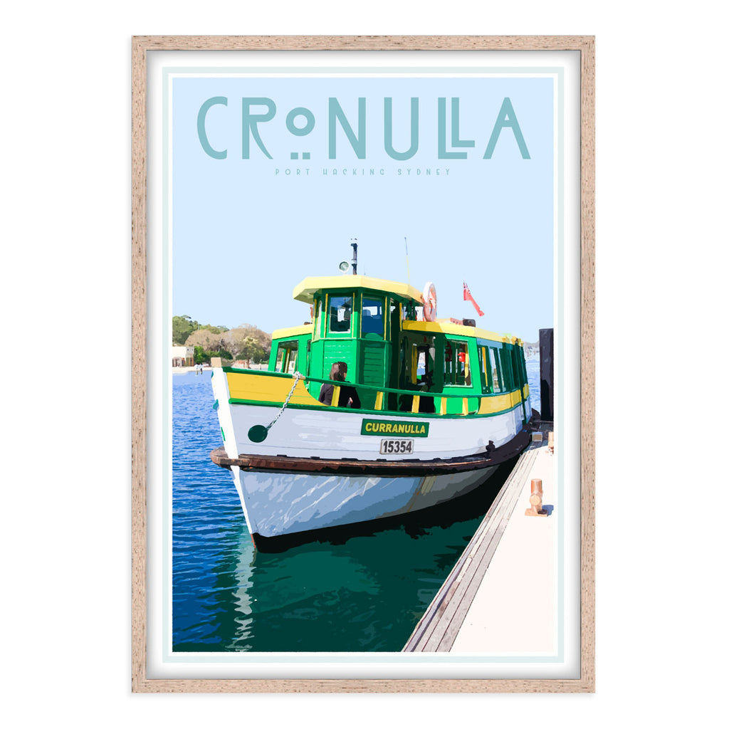 Cronulla ferry vintage style travel print, interior favourite, designed by places we luv