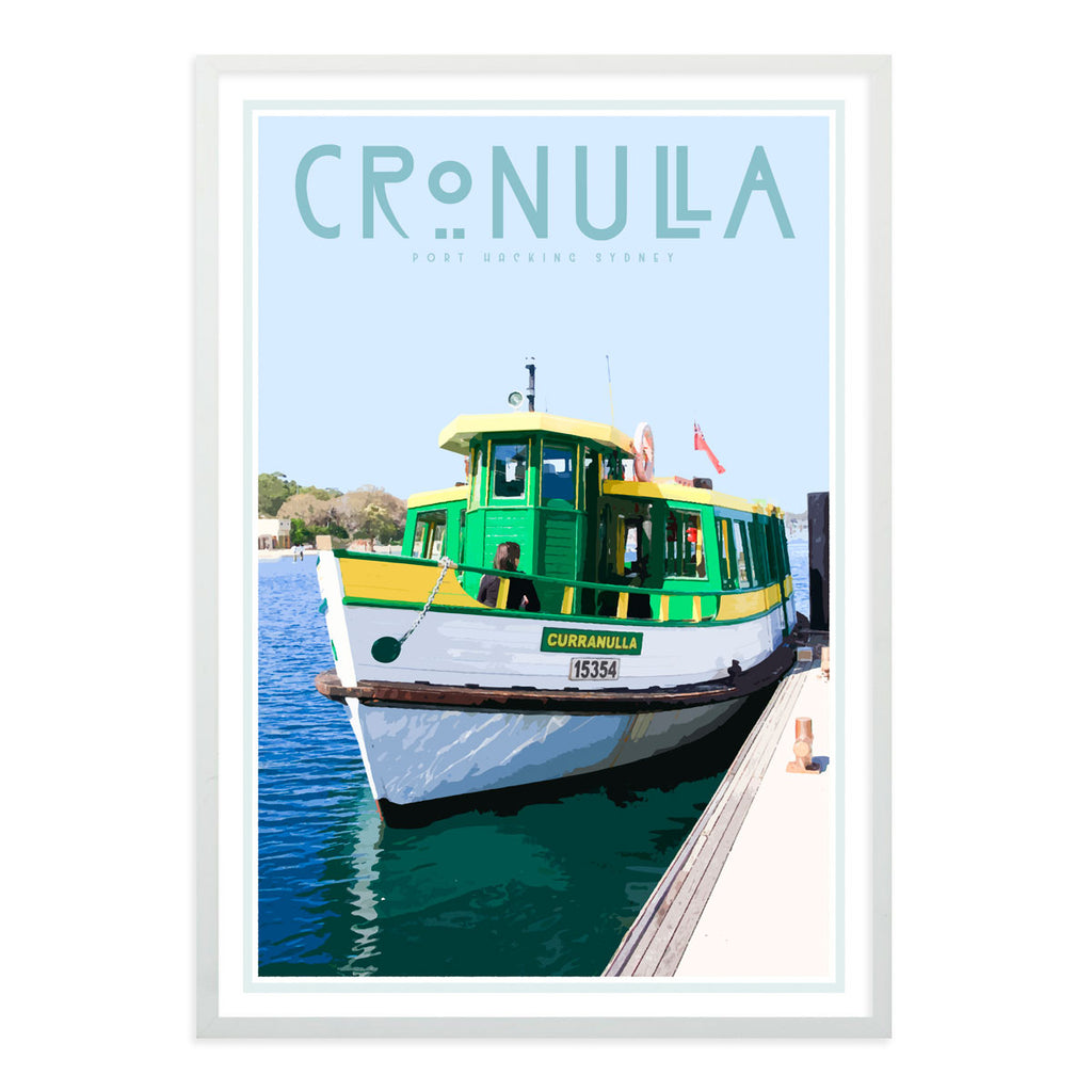 Cronulla ferry vintage style travel print, white frame, designed by places we luv