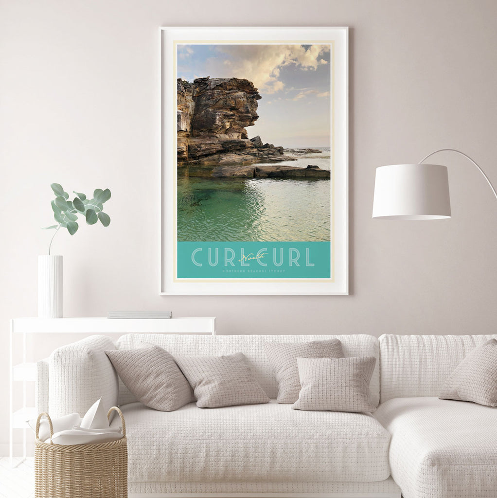 North Curl Curl Pool vintage travel style framed print by places we luv