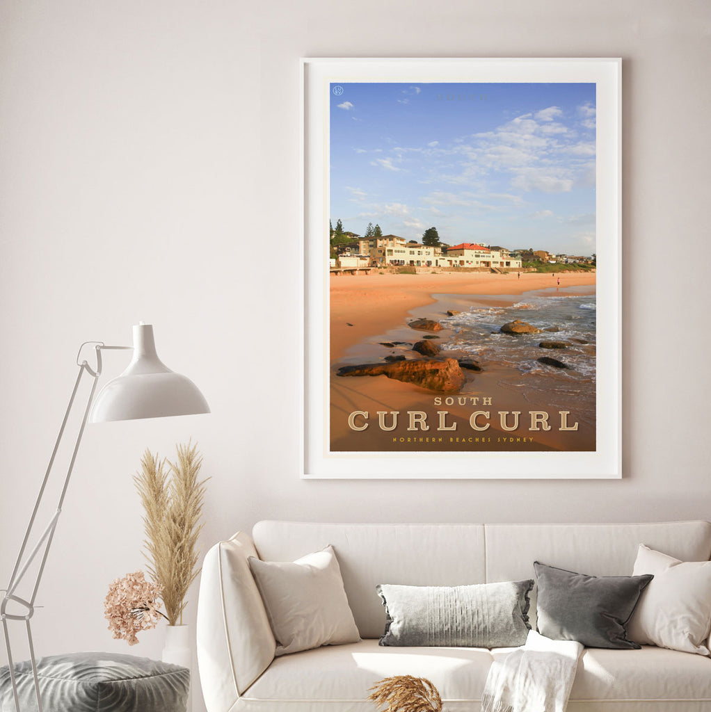 Curl Curl South vintage style framed travel poster by places we luv