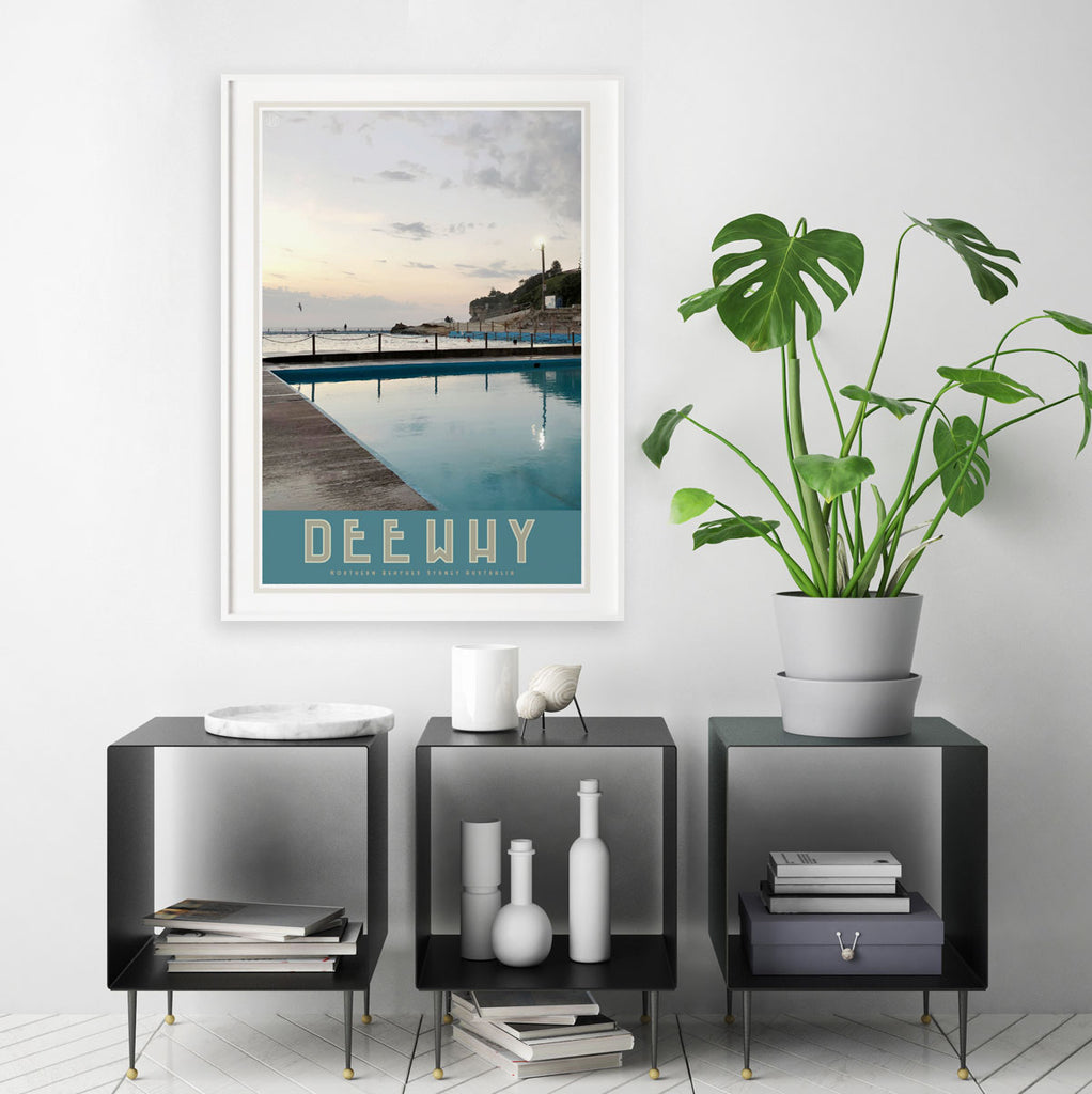 Dee Why Pool, vintage style travel white framed print by places we luv