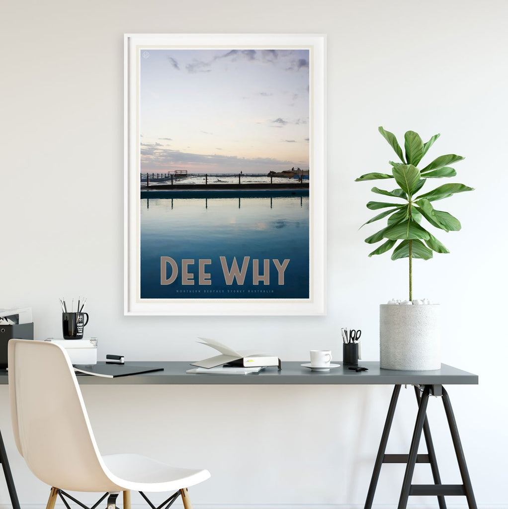 Dee Why poster vintage travel style by places we luv
