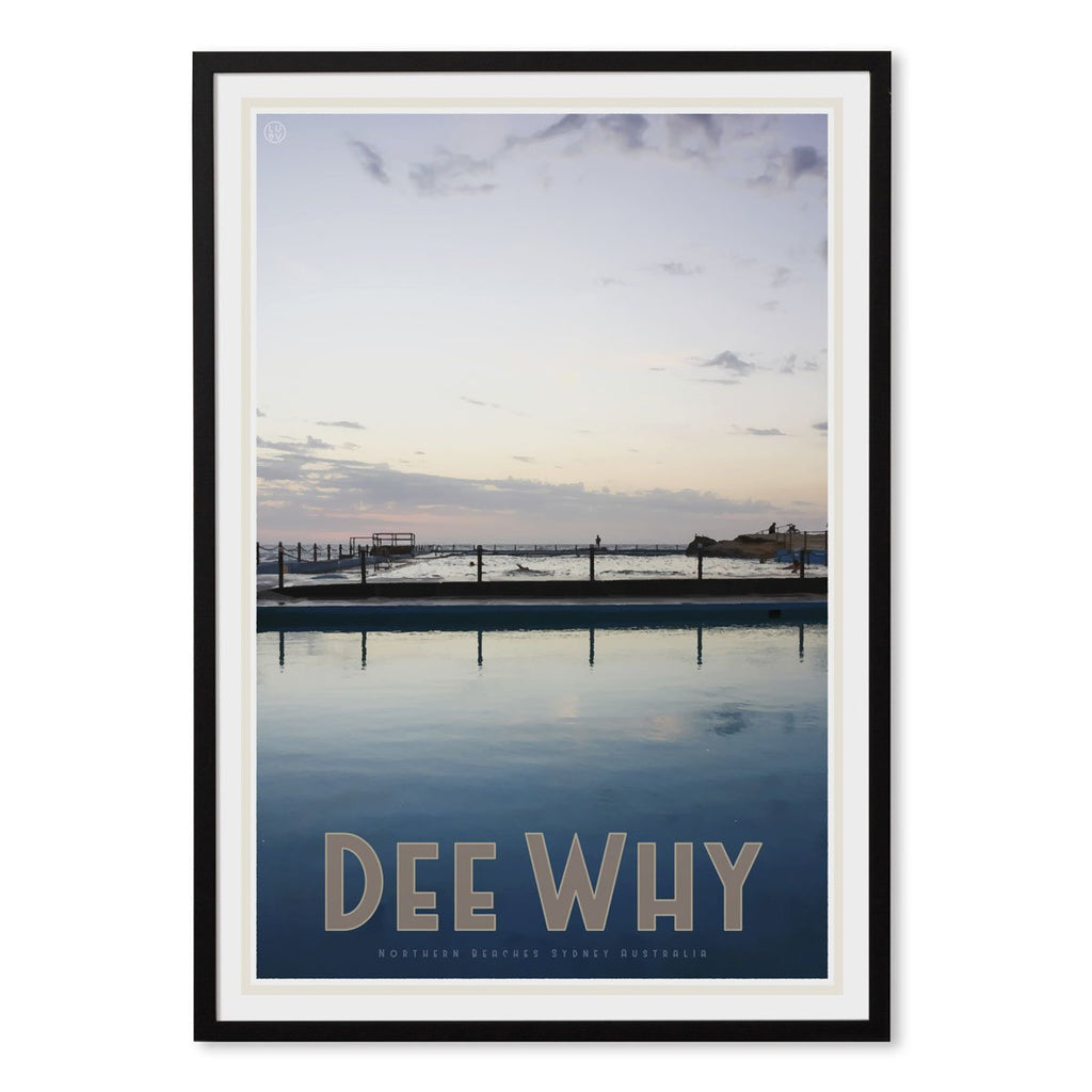 Dee Why black framed poster vintage travel style by places we luv