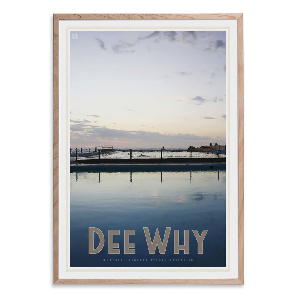 Dee Why oak framed print. vintage travel style by places we luv