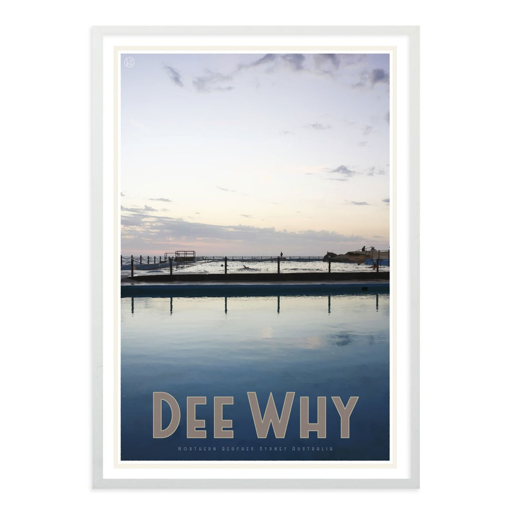 Dee Why white framed print - vintage travel style by places we luv