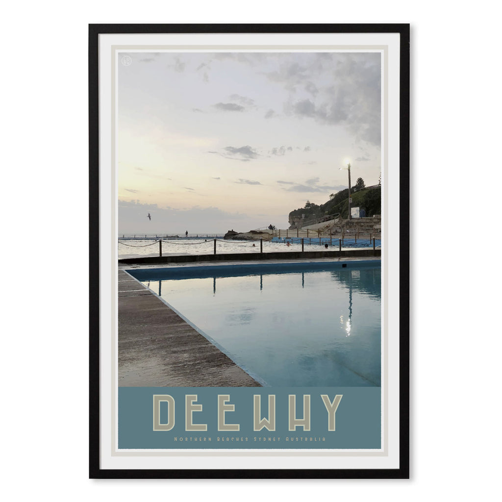 Dee Why Pool, vintage style travel black framed print by places we luv