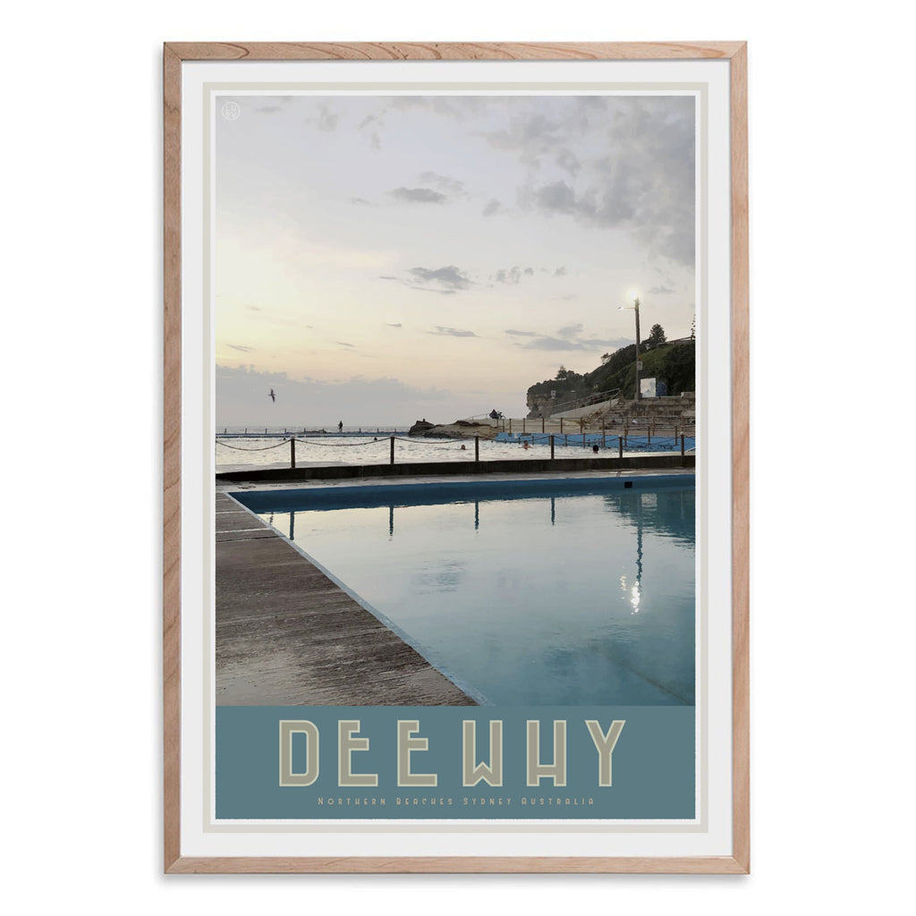 Dee Why Pool, vintage style travel oak framed print by places we luv