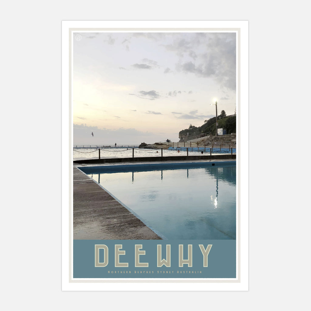 Dee Why Pool, vintage style travel print by places we luv