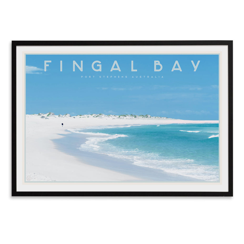 Fingal bay vintage travel style print by places we luv in black frame