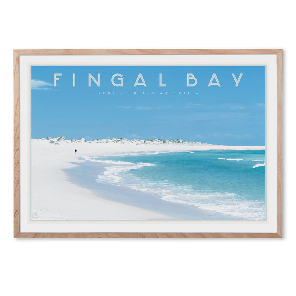 Fingal bay vintage travel style print by places we luv in oak frame