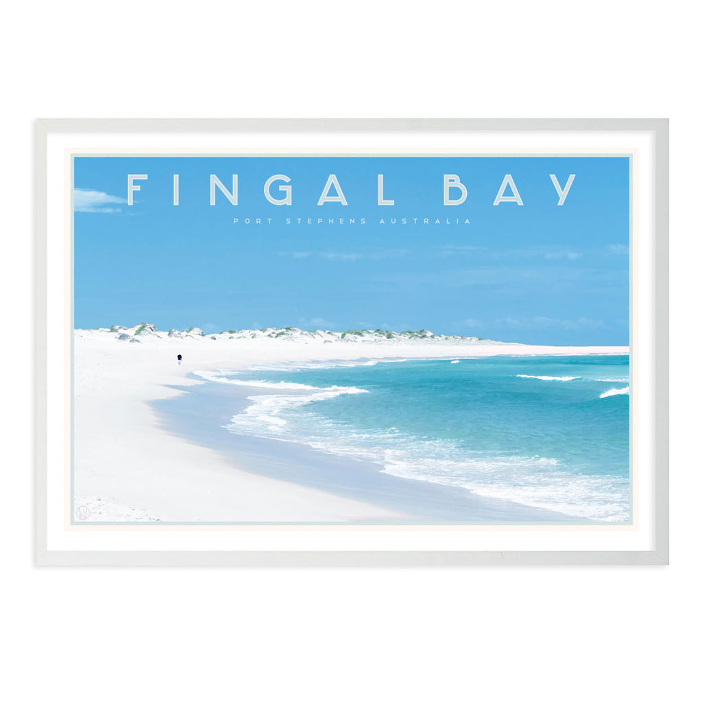 Fingal bay vintage travel style white framed print by places we luv