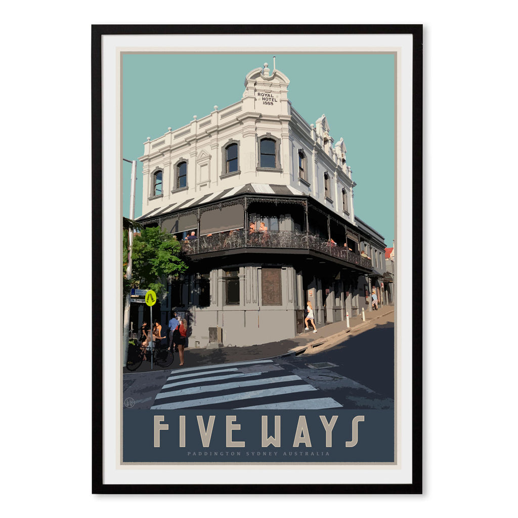 Paddington Five Ways travel style framed poster, affordable wall art prints, Places We Luv