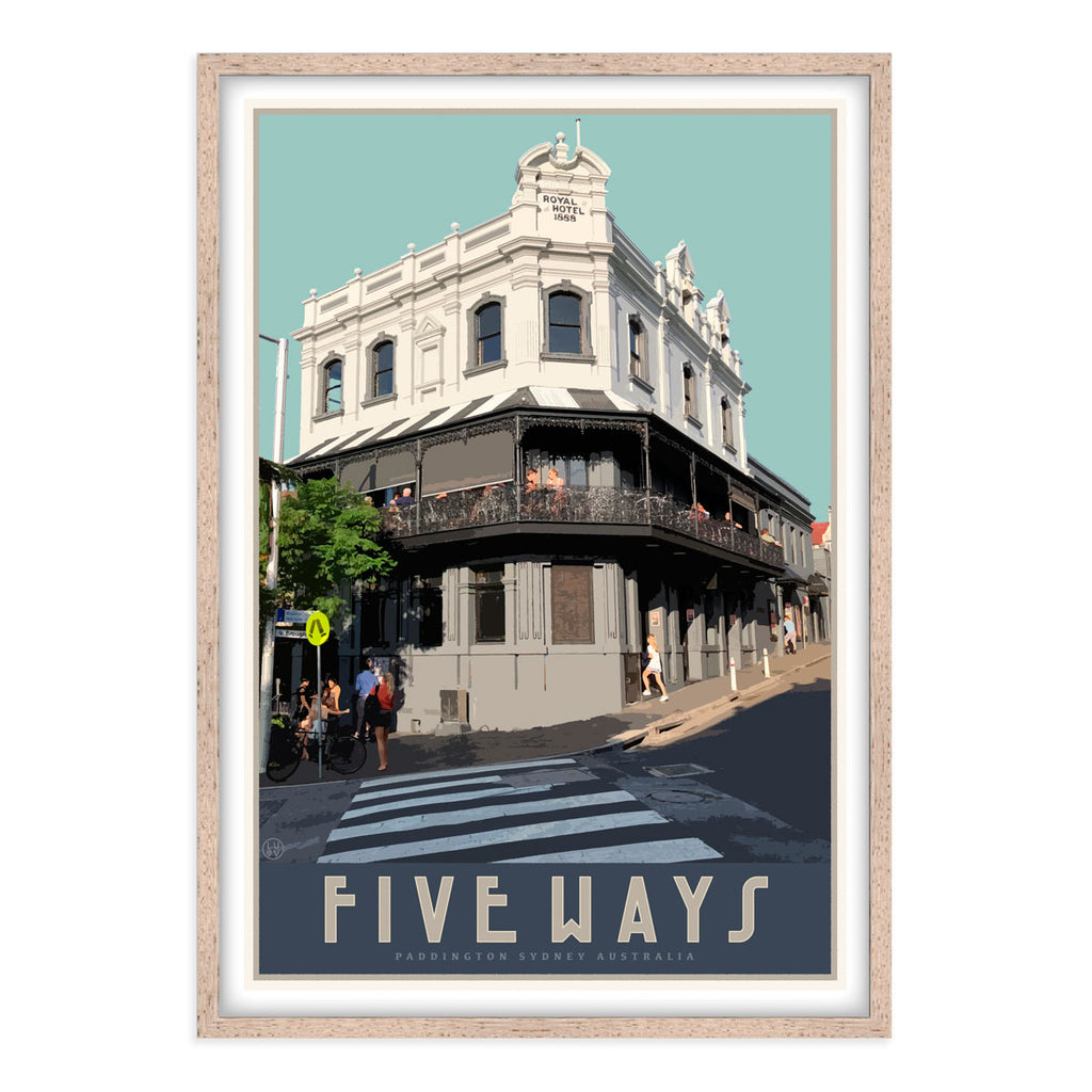 Paddington Five Ways travel style black framed poster, affordable wall art prints, Places We Luv