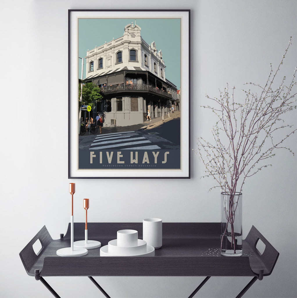 Paddington Five Ways travel style poster, affordable wall art prints, Places We Luv