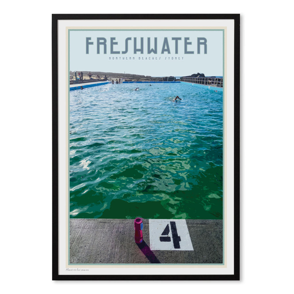 Freshwater beach vintage travel style black framed print by places we luv