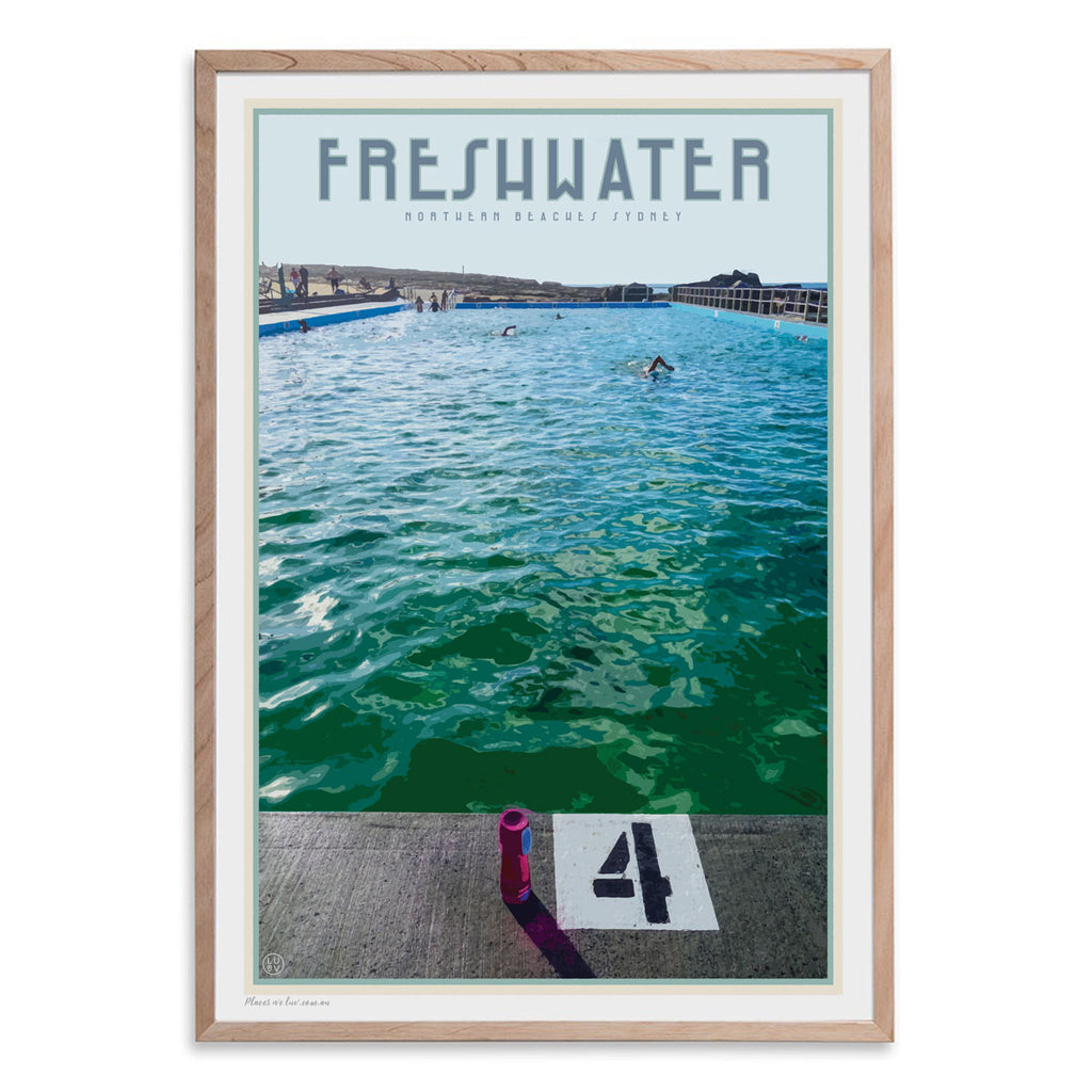 Freshwater beach vintage travel style oak framed print by places we luv
