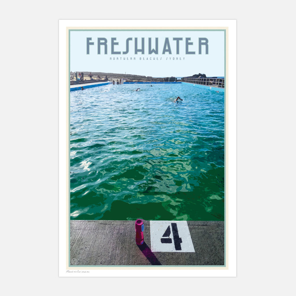 Freshwater beach vintage travel style print by places we luv