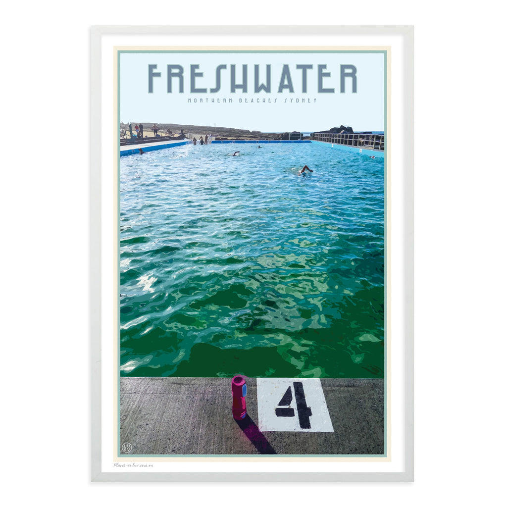 Freshwater beach vintage travel style white framed print by places we luv