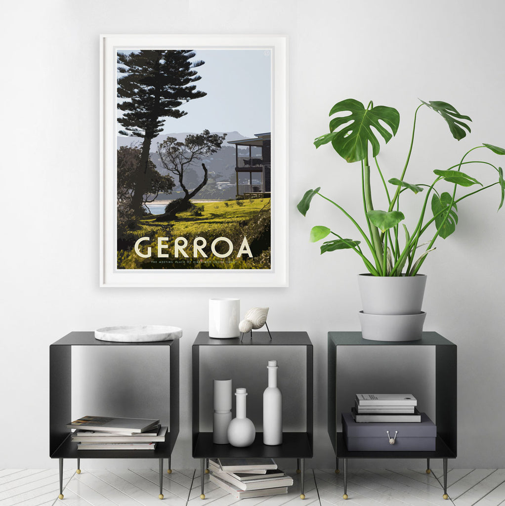 Gerroa white framed print - vintage travel style  by Places We Luv