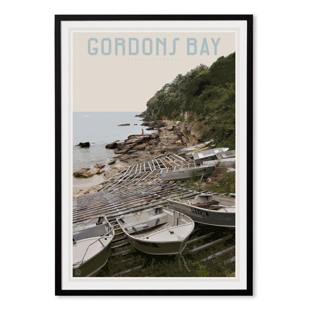 Gordons Bay vintage travel style black framed print by Places We Luv