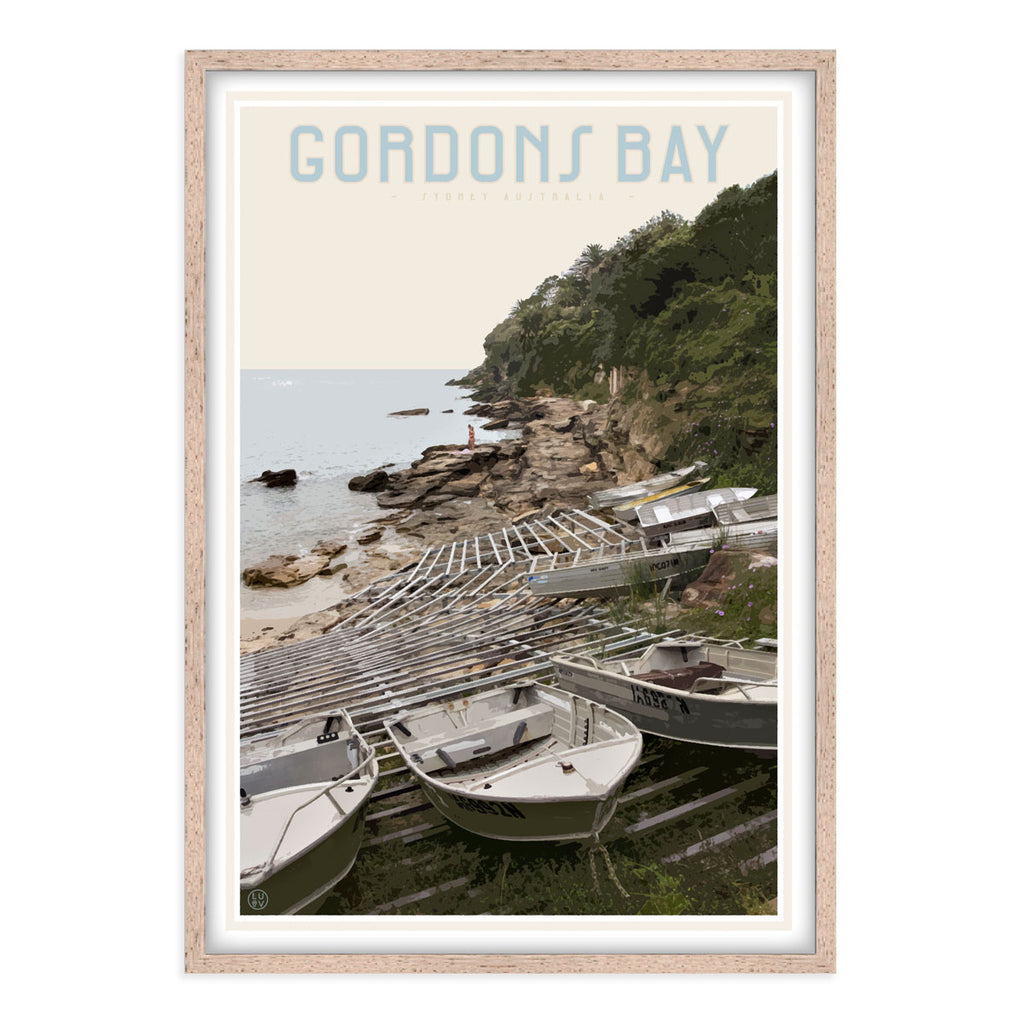Gordons Bay vintage travel style oak framed print by Places We Luv