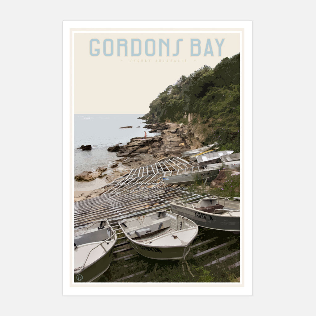 Gordons Bay vintage travel style print by Places We Luv