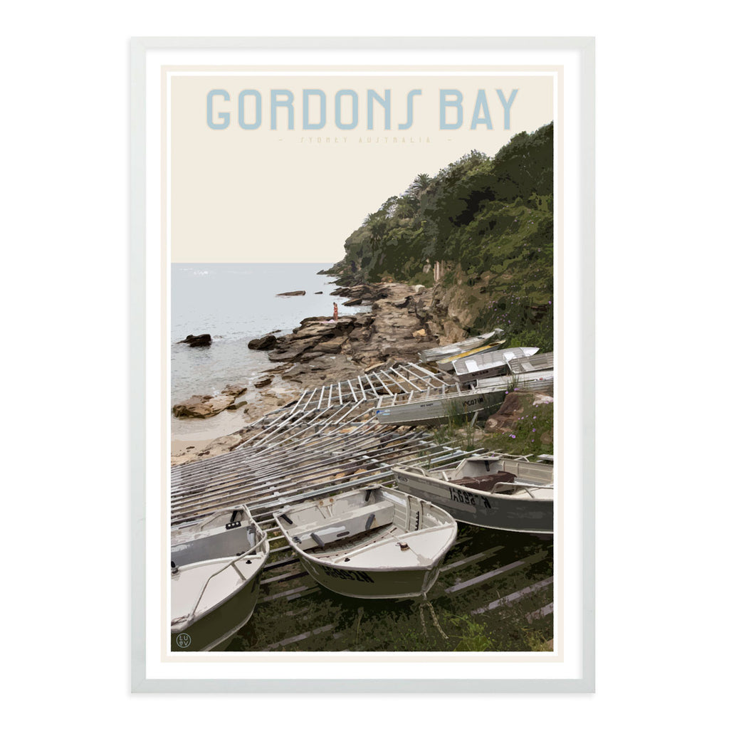 Gordons Bay vintage travel style white framed print by Places We Luv
