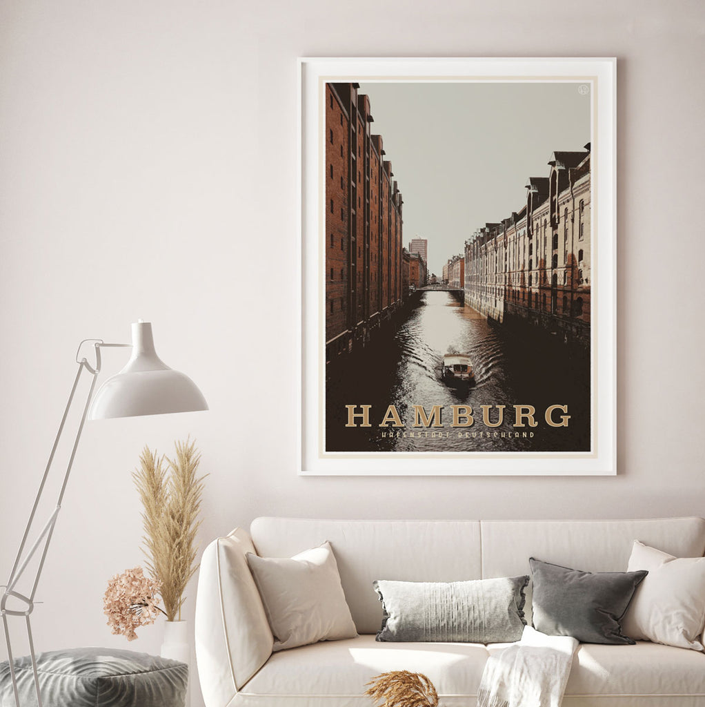 Hamburg vintage travel style print by places we luv