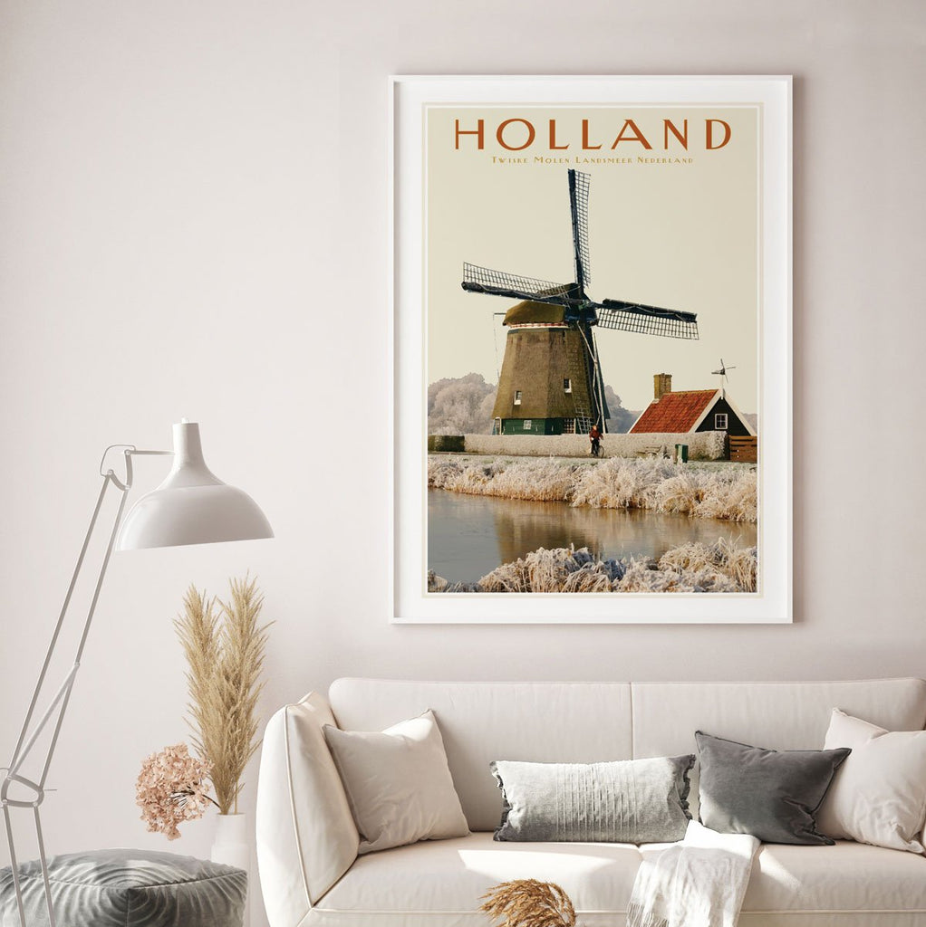 North Holland Windmill framed print. Vintage travel style poster. Original design by places we luv
