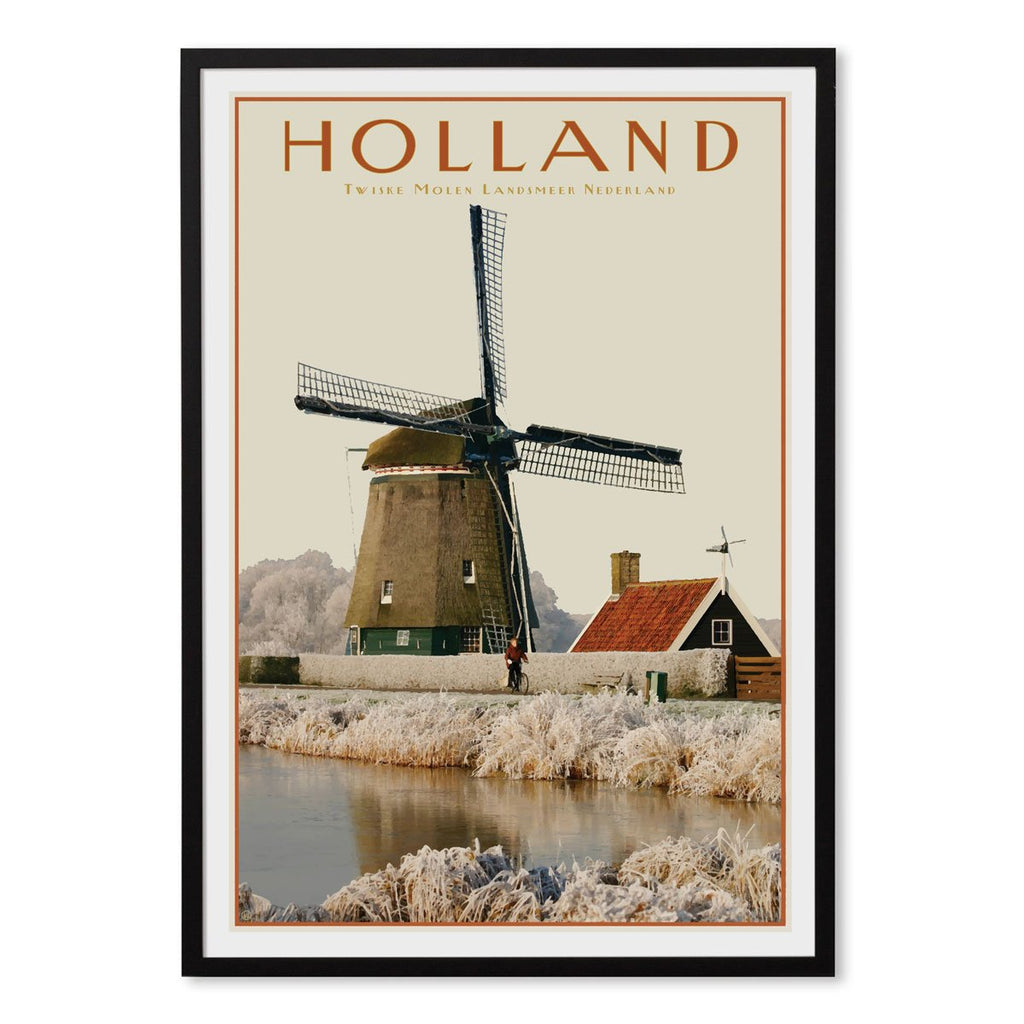 North Holland Windmill black framed print. Vintage travel style poster. Original design by places we luv