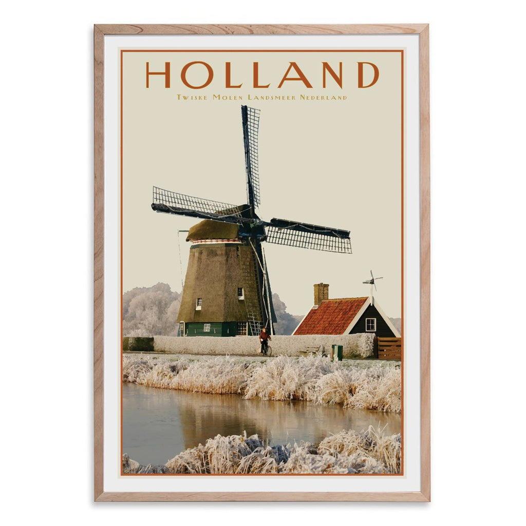 North Holland Windmill raw wood framed print. Vintage travel style poster. Original design by places we luv