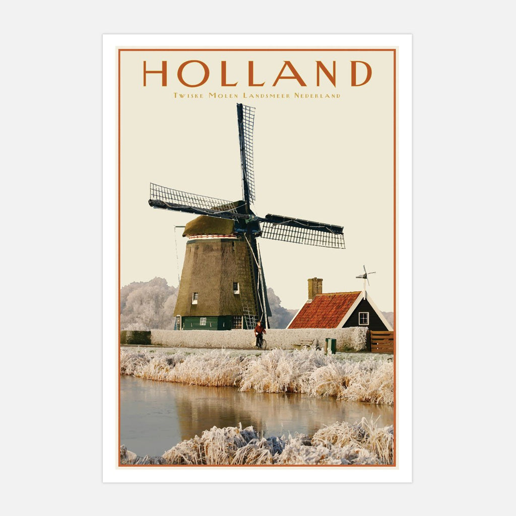 North Holland Windmill print. Vintage travel style. Original design by places we luv